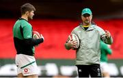 7 February 2021; Ireland assistant coach Mike Catt with Ross Byrne prior to the Guinness Six Nations Rugby Championship match between Wales and Ireland at the Principality Stadium in Cardiff, Wales. Photo by Gareth Everett/Sportsfile