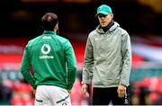 7 February 2021; Ireland defence coach Simon Easterby speaks to Jamison Gibson-Park prior to the Guinness Six Nations Rugby Championship match between Wales and Ireland at the Principality Stadium in Cardiff, Wales. Photo by Gareth Everett/Sportsfile