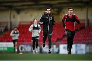 8 February 2021; Ciarán Coll and Joe Thomson, right, during a Derry City pre-season training session at the Ryan McBride Brandywell Stadium in Derry. Photo by Stephen McCarthy/Sportsfile