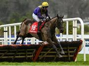 6 February 2021; Uradel, with Aubrey McMahon up, jumps the last during the Ladbrokes Hurdle (Extended Handicap Hurdle) on day 1 of the Dublin Racing Festival at Leopardstown Racecourse in Dublin. Photo by Harry Murphy/Sportsfile