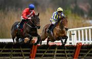 7 February 2021; Quilixios, left, with Jack Kennedy up, and Busselton, right, with JJ Slevin up, during the Tattersalls Ireland Spring Juvenile Hurdle on day two of the Dublin Racing Festival at Leopardstown Racecourse in Dublin. Photo by Seb Daly/Sportsfile