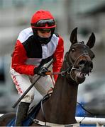 7 February 2021; Jockey Danny Mullins and Saint Sam prior to the Tattersalls Ireland Spring Juvenile Hurdle on day two of the Dublin Racing Festival at Leopardstown Racecourse in Dublin. Photo by Seb Daly/Sportsfile