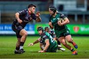 5 February 2021; Jonny Murphy of Connacht takes on Chris Coleman  of Dragons during the Guinness PRO14 match between Dragons and Connacht at Rodney Parade in Newport, Wales. Photo by Mark Lewis/Sportsfile