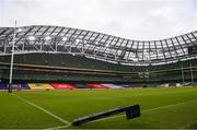 14 February 2021; A corner flag blows in the wind ahead of the Guinness Six Nations Rugby Championship match between Ireland and France at the Aviva Stadium in Dublin. Photo by Ramsey Cardy/Sportsfile