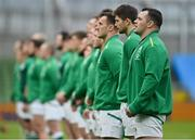 14 February 2021; Cian Healy of Ireland stands with his team-mates during the National Anthems ahead of the Guinness Six Nations Rugby Championship match between Ireland and France at the Aviva Stadium in Dublin. Photo by Ramsey Cardy/Sportsfile