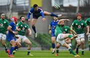 14 February 2021; Brice Dulin of France in action against Garry Ringrose of Ireland during the Guinness Six Nations Rugby Championship match between Ireland and France at the Aviva Stadium in Dublin. Photo by Ramsey Cardy/Sportsfile