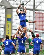 14 February 2021; Charles Ollivon of France gathers possession of a line-out against Rhys Ruddock of Ireland during the Guinness Six Nations Rugby Championship match between Ireland and France at the Aviva Stadium in Dublin. Photo by Brendan Moran/Sportsfile