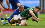 14 February 2021; Garry Ringrose of Ireland is tackled by Gaël Fickou of France during the Guinness Six Nations Rugby Championship match between Ireland and France at the Aviva Stadium in Dublin. Photo by Brendan Moran/Sportsfile