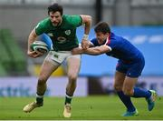 14 February 2021; Robbie Henshaw of Ireland is tackled by Antoine Dupont of France during the Guinness Six Nations Rugby Championship match between Ireland and France at the Aviva Stadium in Dublin. Photo by Ramsey Cardy/Sportsfile