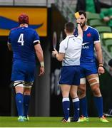 14 February 2021; Bernard Le Roux of France receives a yellow card from referee Luke Pearce during the Guinness Six Nations Rugby Championship match between Ireland and France at the Aviva Stadium in Dublin. Photo by Brendan Moran/Sportsfile