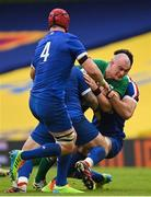 14 February 2021; Rhys Ruddock of Ireland is tackled by Cyril Baille, left, and Charles Ollivon of France during the Guinness Six Nations Rugby Championship match between Ireland and France at the Aviva Stadium in Dublin. Photo by Ramsey Cardy/Sportsfile