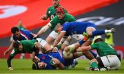 14 February 2021; Grégory Alldritt of France is tackled by Ireland players, from left, Billy Burns, Josh van der Flier and CJ Stander of Ireland during the Guinness Six Nations Rugby Championship match between Ireland and France at the Aviva Stadium in Dublin. Photo by Ramsey Cardy/Sportsfile