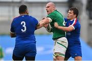 14 February 2021; Rhys Ruddock of Ireland tussles with Mohamed Haouas, 3, and Antoine Dupont of France during the Guinness Six Nations Rugby Championship match between Ireland and France at the Aviva Stadium in Dublin. Photo by Ramsey Cardy/Sportsfile
