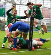 14 February 2021; James Lowe of Ireland stretches for the line to score his side's first try, which was subsequently disallowed, as team-mates Keith Earls and Hugo Keenan celebrate during the Guinness Six Nations Rugby Championship match between Ireland and France at the Aviva Stadium in Dublin. Photo by Brendan Moran/Sportsfile