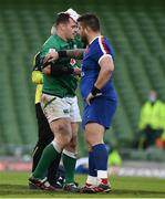 14 February 2021; Cian Healy of Ireland with Cyril Baille of France as he leaves the pitch with a blood injury during the Guinness Six Nations Rugby Championship match between Ireland and France at the Aviva Stadium in Dublin. Photo by Brendan Moran/Sportsfile