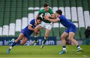 14 February 2021; Hugo Keenan of Ireland is tackled by Arthur Vincent, left, and Damian Penaud of France during the Guinness Six Nations Rugby Championship match between Ireland and France at the Aviva Stadium in Dublin. Photo by Ramsey Cardy/Sportsfile