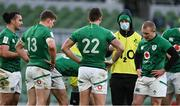 14 February 2021; Jonathan Sexton of Ireland, as water carrier, speaks to his team-mates during the Guinness Six Nations Rugby Championship match between Ireland and France at the Aviva Stadium in Dublin. Photo by Brendan Moran/Sportsfile