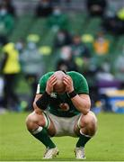 14 February 2021; Rhys Ruddock of Ireland reacts after the final whistle of the Guinness Six Nations Rugby Championship match between Ireland and France at the Aviva Stadium in Dublin. Photo by Brendan Moran/Sportsfile