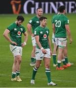 14 February 2021; Robbie Henshaw, left, and Ross Byrne of Ireland leave the pitch following the Guinness Six Nations Rugby Championship match between Ireland and France at the Aviva Stadium in Dublin. Photo by Ramsey Cardy/Sportsfile