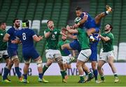 14 February 2021; James Lowe of Ireland in action against Teddy Thomas of France during the Guinness Six Nations Rugby Championship match between Ireland and France at the Aviva Stadium in Dublin. Photo by Ramsey Cardy/Sportsfile