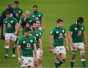 14 February 2021; Ross Byrne leaves the pitch dejected alongside his Ireland team-mates following their defeat in the Guinness Six Nations Rugby Championship match between Ireland and France at the Aviva Stadium in Dublin. Photo by Ramsey Cardy/Sportsfile