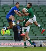 14 February 2021; Jamison Gibson-Park of Ireland collects a high-ball ahead of Teddy Thomas of France during the Guinness Six Nations Rugby Championship match between Ireland and France at the Aviva Stadium in Dublin. Photo by Brendan Moran/Sportsfile