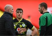 14 February 2021; Ireland forwards coach Paul O'Connell, left, with CJ Stander, centre, and Iain Henderson of Ireland ahead of the Guinness Six Nations Rugby Championship match between Ireland and France at the Aviva Stadium in Dublin. Photo by Ramsey Cardy/Sportsfile