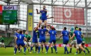14 February 2021; Charles Ollivon of France wins a lineout from Rhys Ruddock of Ireland during the Guinness Six Nations Rugby Championship match between Ireland and France at the Aviva Stadium in Dublin. Photo by Brendan Moran/Sportsfile