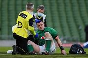 14 February 2021; Cian Healy of Ireland is treated for a blood injury after an accidental clash of heads with team-mate Iain Henderson during the Guinness Six Nations Rugby Championship match between Ireland and France at the Aviva Stadium in Dublin. Photo by Brendan Moran/Sportsfile