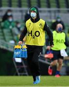 14 February 2021; Jonathan Sexton of Ireland acting as a water carrier during the Guinness Six Nations Rugby Championship match between Ireland and France at the Aviva Stadium in Dublin. Photo by Brendan Moran/Sportsfile