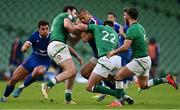 14 February 2021; Gaël Fickou of France is tackled by Robbie Henshaw and Ross Byrne of Ireland during the Guinness Six Nations Rugby Championship match between Ireland and France at the Aviva Stadium in Dublin. Photo by Brendan Moran/Sportsfile