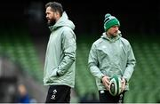 14 February 2021; Ireland head coach Andy Farrell, left, and assistant coach Mike Catt prior to the Guinness Six Nations Rugby Championship match between Ireland and France at the Aviva Stadium in Dublin. Photo by Ramsey Cardy/Sportsfile