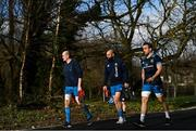 15 February 2021; Devin Toner, left, Scott Fardy, centre, and Jack Conan arrive for Leinster Rugby squad training at UCD in Dublin. Photo by Ramsey Cardy/Sportsfile