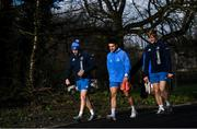 15 February 2021; Harry Byrne, left, Cian Kelleher, centre, and Tommy O'Brien arrive for Leinster Rugby squad training at UCD in Dublin. Photo by Ramsey Cardy/Sportsfile