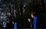 15 February 2021; Luke McGrath, left, Hugh O'Sullivan, centre, and James Tracy arrive for Leinster Rugby squad training at UCD in Dublin. Photo by Ramsey Cardy/Sportsfile