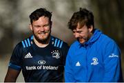 15 February 2021; Greg McGrath, left, and David Hawkshaw arrive for Leinster Rugby squad training at UCD in Dublin. Photo by Ramsey Cardy/Sportsfile