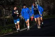 15 February 2021; Scott Penny, left, Chris Cograve, centre, and Niall Comerford arrive for Leinster Rugby squad training at UCD in Dublin. Photo by Ramsey Cardy/Sportsfile