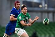 14 February 2021; Hugo Keenan of Ireland in action against Bernard Le Roux of France during the Guinness Six Nations Rugby Championship match between Ireland and France at the Aviva Stadium in Dublin. Photo by Brendan Moran/Sportsfile