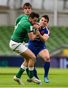 14 February 2021; Hugo Keenan of Ireland is tackled by Antoine Dupont of France during the Guinness Six Nations Rugby Championship match between Ireland and France at the Aviva Stadium in Dublin. Photo by Brendan Moran/Sportsfile