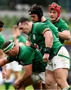 14 February 2021; The Ireland front row, from left, Rob Herring, Cian Healy and Andrew Porter during the Guinness Six Nations Rugby Championship match between Ireland and France at the Aviva Stadium in Dublin. Photo by Brendan Moran/Sportsfile