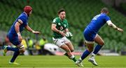 14 February 2021; Hugo Keenan of Ireland in action against Bernard Le Roux and Gaël Fickou of France during the Guinness Six Nations Rugby Championship match between Ireland and France at the Aviva Stadium in Dublin. Photo by Brendan Moran/Sportsfile