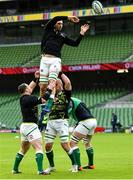 14 February 2021; Tadhg Beirne of Ireland is lifted by team-mates Cian Healy and Rhys Ruddock prior to the Guinness Six Nations Rugby Championship match between Ireland and France at the Aviva Stadium in Dublin. Photo by Brendan Moran/Sportsfile