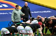 14 February 2021; Ireland national scrum coach John Fogarty, left, and Ireland forwards coach Paul O'Connell prior to the Guinness Six Nations Rugby Championship match between Ireland and France at the Aviva Stadium in Dublin. Photo by Ramsey Cardy/Sportsfile