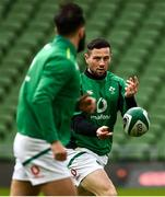 14 February 2021; John Cooney of Ireland passes to team-mate Jamison Gibson-Park prior to the Guinness Six Nations Rugby Championship match between Ireland and France at the Aviva Stadium in Dublin. Photo by Brendan Moran/Sportsfile