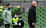 14 February 2021; Ireland forwards coach Paul O'Connell, right and head coach Andy Farrell prior to the Guinness Six Nations Rugby Championship match between Ireland and France at the Aviva Stadium in Dublin. Photo by Brendan Moran/Sportsfile