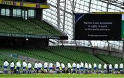 14 February 2021; The France team stand for the 'Rugby Against Racism' campaign prior to the Guinness Six Nations Rugby Championship match between Ireland and France at the Aviva Stadium in Dublin. Photo by Brendan Moran/Sportsfile