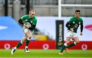 14 February 2021; Keith Earls, left, and Billy Burns of Ireland during the Guinness Six Nations Rugby Championship match between Ireland and France at the Aviva Stadium in Dublin. Photo by Ramsey Cardy/Sportsfile