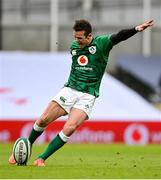 14 February 2021; Billy Burns of Ireland kicks a penalty during the Guinness Six Nations Rugby Championship match between Ireland and France at the Aviva Stadium in Dublin. Photo by Ramsey Cardy/Sportsfile