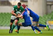 14 February 2021; CJ Stander of Ireland is tackled by Matthieu Jalibert of France during the Guinness Six Nations Rugby Championship match between Ireland and France at the Aviva Stadium in Dublin. Photo by Ramsey Cardy/Sportsfile