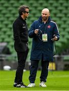 14 February 2021; France head coach Fabien Galthie, left, with performance director Thibault Giraud prior to the Guinness Six Nations Rugby Championship match between Ireland and France at the Aviva Stadium in Dublin. Photo by Brendan Moran/Sportsfile